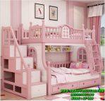 Ranjang Tingkat Anak Murah Putih Pink