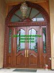 Pintu Rumah Utama Klasik Ukir Kaca Patri